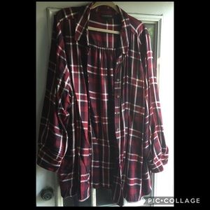 Lane Bryant 26/28 Red Plaid Button up tunic top